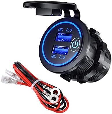 YGL Double Chargeur De Voiture USB QC 3.0 Prise De Connexion Dalimentation Du Chargeur USB /étanche,Utilis/é Pour Voitures,Moto,Bus,Remorques,Bateaux,Etc. Avec Interrupteur