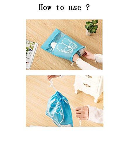 YUMMAYEE 10 Pcs Dust-proof Shoe Bags Drawstring with Window Travel Shoe Storage Bags Shoes Organizer Light Blue by YUMMAYEE (Image #7)