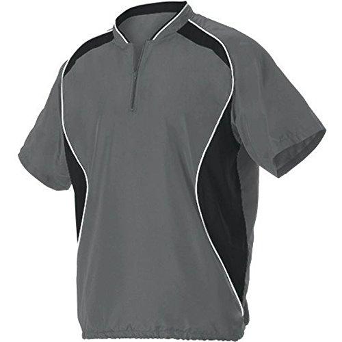 AllesonメンズShort Sleeve Baseball Batter 'sジャケット B00K4XQL1U S|チャコール/ブラック チャコール/ブラック S