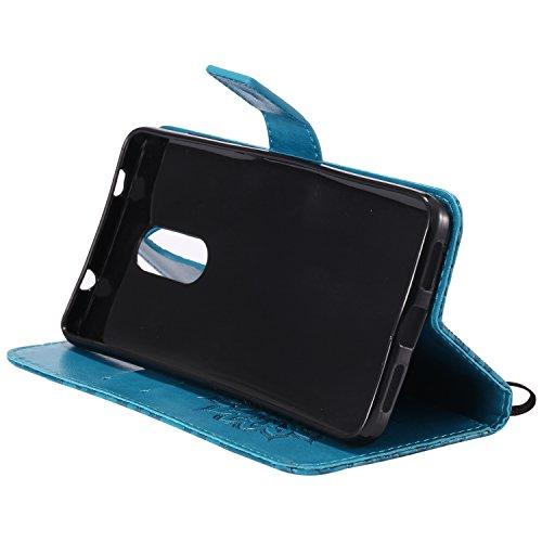 Funda Xiaomi Rojomi Note 4X, SsHhUu Funda PU Piel Genuino Carcasa en Folio [Ranuras para Tarjetas] [Cierre Magnetico] con Lápiz óptico + Acollador para Xiaomi Rojomi Note 4X (5.5) Marrón Azul