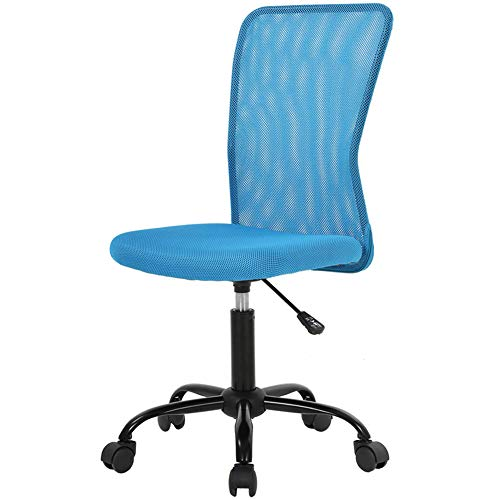 Simple Office Chairs Ergonomic Small Cute Mesh Office Chair, Armless Lumbar Support for Home Office Chair, Chic Modern Desk PC Chair Blue, Mid Back Adjustable Swivel