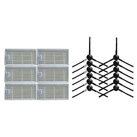 12 cepillo lateral & 6 Filtro HEPA para CHUWI ilife v5s v5 x5 ilife V3s v3s pro v3 v5s pro aspirador de piezas de robot: Amazon.es: Hogar