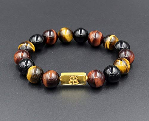 Tiger's Eye, Black Onyx, and Gold Vermeil Beads Bracelet