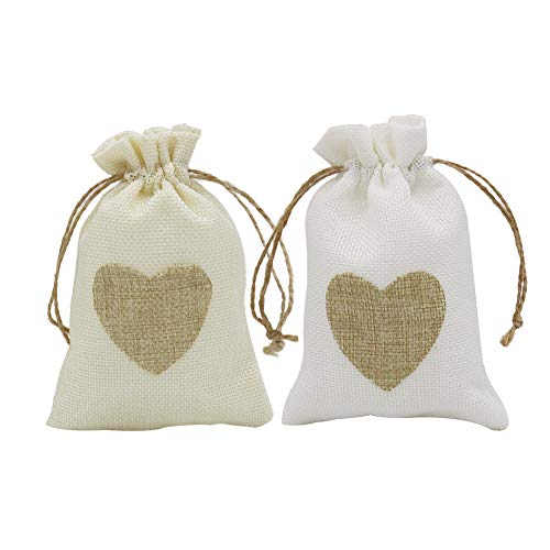 HRX Package Small Burlap Heart Gift Bags with Drawstring, 20pcs Jute Cloth Favor Pouches for Wedding Shower Party Christmas Valentine's Day DIY Craft (3.9
