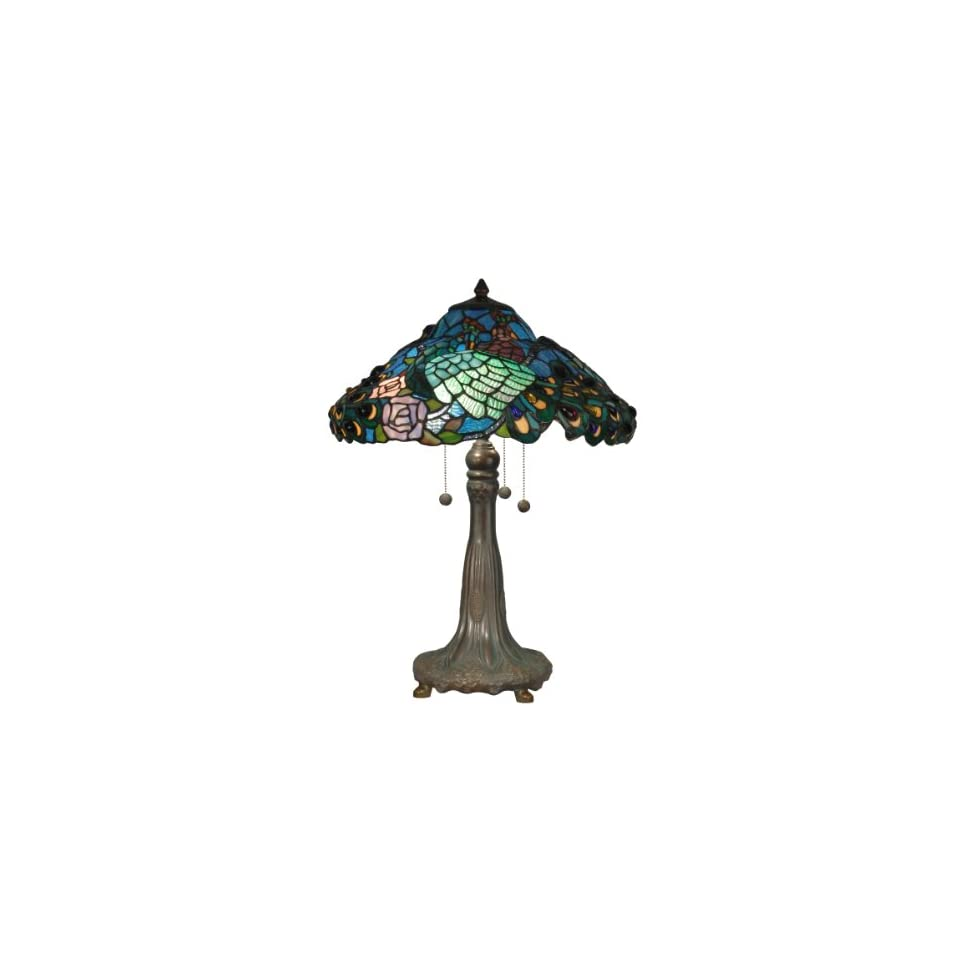 Dale Tiffany TT90431 Tiffany Table Lamp, Antique Bronze/Verde and Art Glass Shade