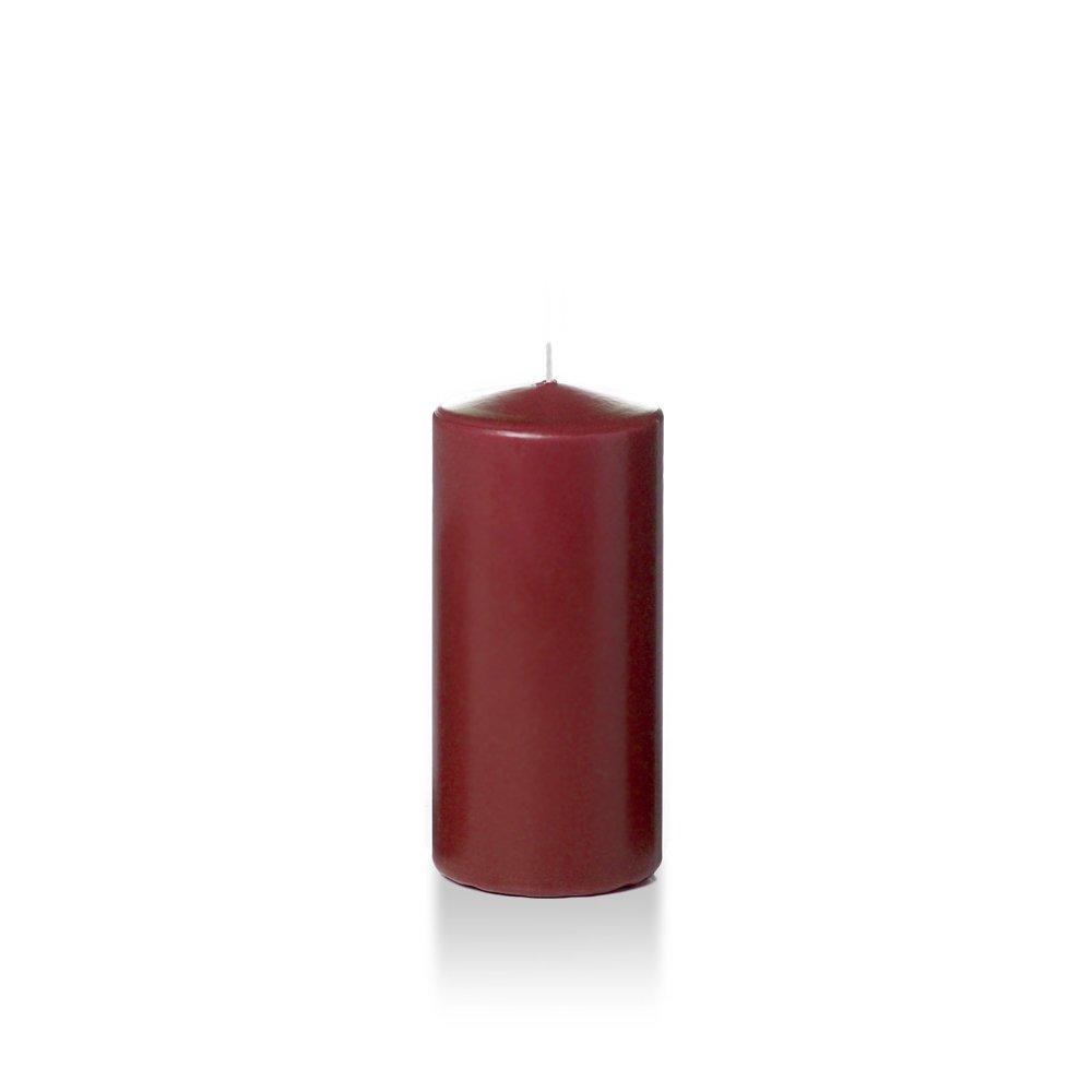 Case of 12 - Yummi 3'' x 6'' Burgundy Round Pillar Candles