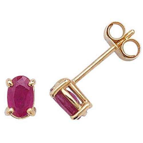 Boucles d'oreilles clous en or 9 carats Ruby