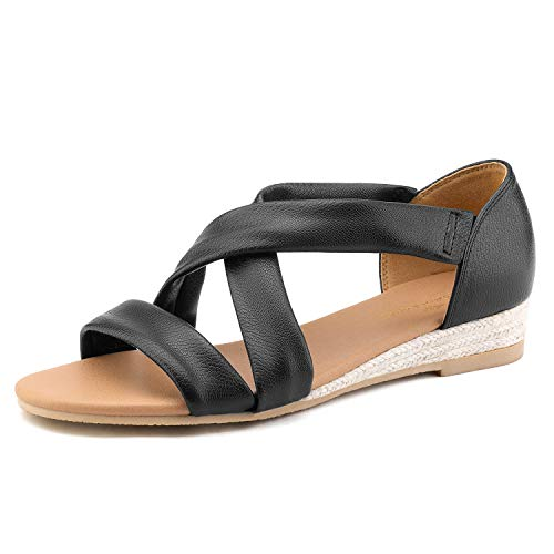 - DREAM PAIRS Women's Black Low Wedge Sandals Dress Sandals Size 8.5 M US Formosa_8