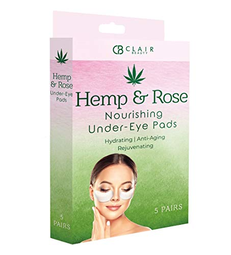 Hemp & Rose Nourishing Under Eye Mask Patches - Reduces Fine Lines and Wrinkles | Smooths Under Eye Bags and Puffiness | Tones and Hydrates - 5 Pairs from Clair Beauty