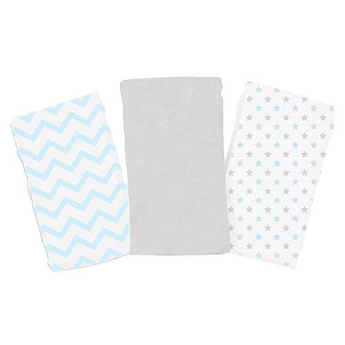 SwaddleMe Premium Muslin Blankets 3-PK, Teal Chevron & Stars