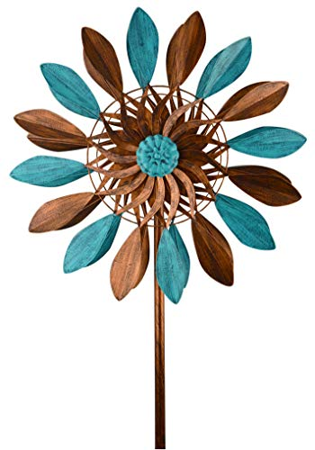 Red Carpet Studios 34420 Wind Art Spinner Stake, Blue and Bronze Leaves