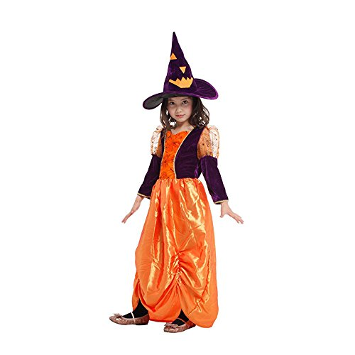 Lovely pumpkin witch princess Long Sleeve dress Girls Halloween Cosplay Costume Hat (XL) ()