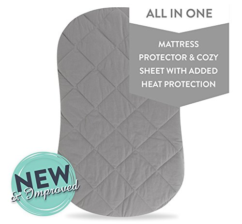 Jersey Cotton Quilted Waterproof Hourglass and Oval Bassinet Sheet all in one Bassinet Sheet and Bassinet Mattress Pad Cover with heat protection - Grey, by Ely's & (Bassinet Cover)