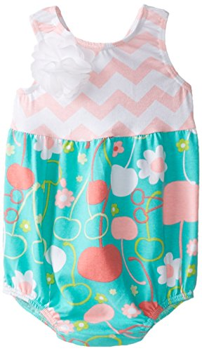 Flap Happy Baby Girls' Bubble Romper With Snaps, Cherry Blossoms, 12 Months (Flap Happy Clothes)
