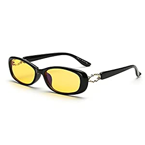 Cyxus Blue Light Filter Computer Glasses, Better Sleep Anti Eyestrain Headache Classic Eyewear Oval Frame (Yellow lens black frame)