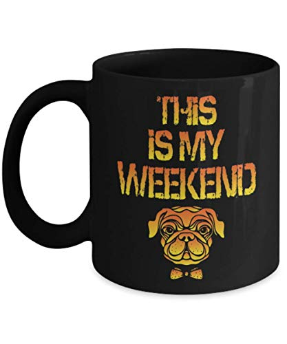 This Is My Weekend Pug This Is My Human Costume Pug Mug, Halloween Ghost I'm Just Here For The Boos Funny Beer Mug, Gift Dad for Father's day Daddy, G