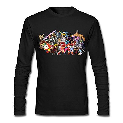 Price comparison product image RUIFENG Men's Super Smash Bros Wii U Nintendo Dlc Wishlist New Long Sleeve T-shirt Size XXL Black
