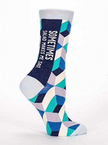 Blue Q Women's Crew Socks, Sometimes Salad Makes Me Sad, Shoe Size 5-10