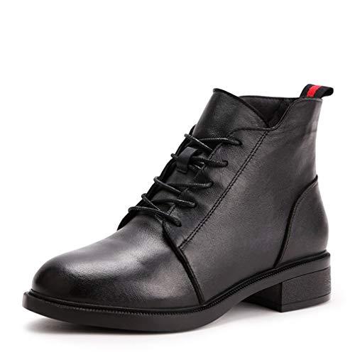 De Damas Para Botines Negro Suaves Boda Medio Vestir Botas Otoño Tacón Y Cómodas Primavera Zapatos Yan Cuero Mujeres 5IUqxSUnw