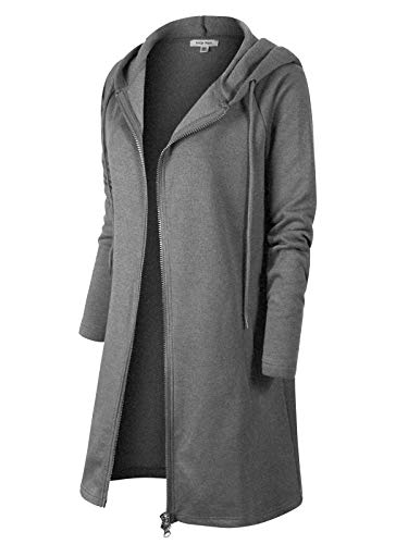 Instar Mode Casual Loose Fit Long Zip Up Pullover Hoodie Tunic Sweatshirt Jacket (S-3X) Medium Grey LX
