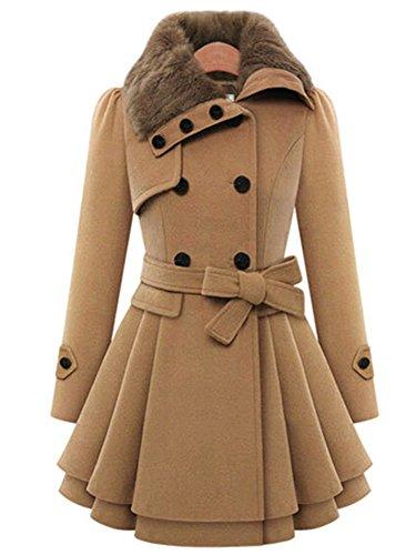 Lemosery Women's Stylish Lapel Faux Fur Collar Wool Blend Long Sleeve Trench Coat Dress - Moncler Blue