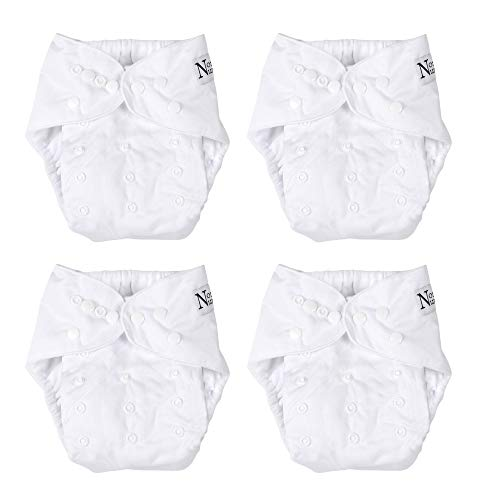 Winter White 4 Reusable Baby Cloth Pocket Diapers W/Highly Absorbent Bamboo Microfiber Inserts for Boys or Girls, One Size Adjustable & Washable Nappies