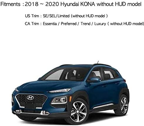 Aoneparts Black Non-Slip Dash Covers with White Sticker 2p for 2018-2020 Hyundai Kona Without HUD