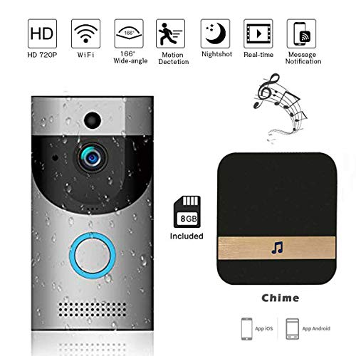 - Smart Video Doorbell Wireless Door Bell Smart home 720P HD Wifi Camera Security Night Vision Two-Way Talk and Real-time Video APP Control for iOS Android(Silver with 8GB TF card&Indoor Chime)