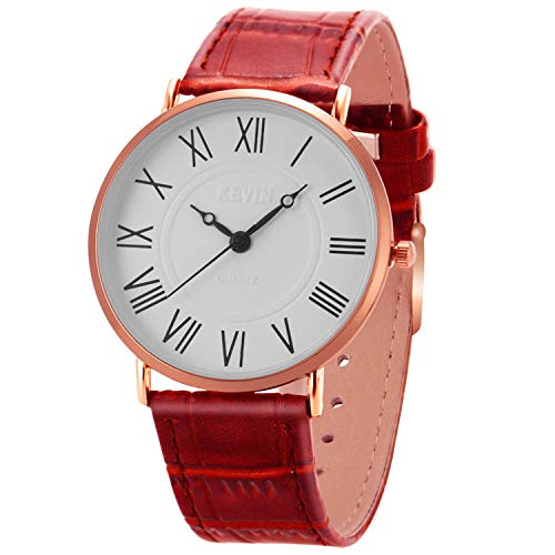 Manual Wind Wrist Watch - Wrist Watch Mens Ultra-Thin Minimalist SIBOSUN Quartz Brown Leather Strap Classic Roman Numerals Anolog