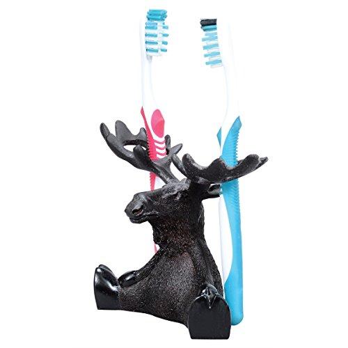 BLACK FOREST DECOR Decorative Rustic Toothbrush Holder Set Bathroom Vanity (Moose & Bear Parade)