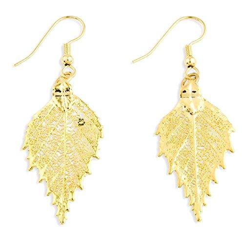 IceCarats 24k Gold Dipped Birch Leaf Earrings