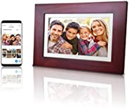 """eco4life 8"""" WiFi Family Sharing Photo Frame Ultra HD IPS Display, Cherry Color Wooden Frame, 6G Lifetime"""
