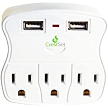 Portable USB Wall Outlet, Surge Protection with 2 USB Ports 3 AC Ports - 5-Outlet Power Strip - Mini Travel Plugin - Charge iPhones, iPads, Laptops, Tablets, Bathroom, Kitchen and more - by CrestSet