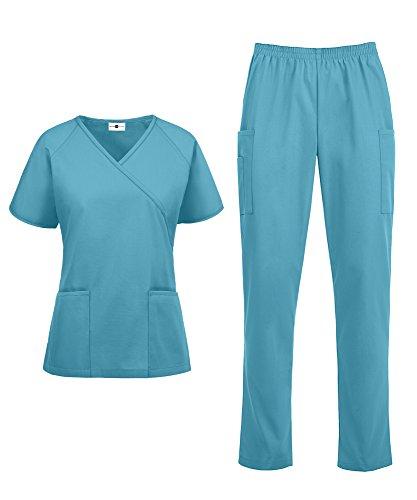 Women's Medical Uniform Scrub Set – Includes Mock Wrap Top and Elastic Pant (XS-3X, 14 Colors) (XX-Large, Turquoise)