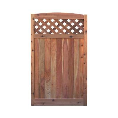 Signature Development 3.5 ft. H W x 6 ft. H H Western Red Cedar Arch Top Diagonal Lattice Fence Gate (Lattice Gate)