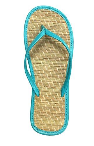 Women's Bamboo Sandal Flip Flops Flats Beach Summer Shoe Comfort Clearance-1212(9 Blue) ()