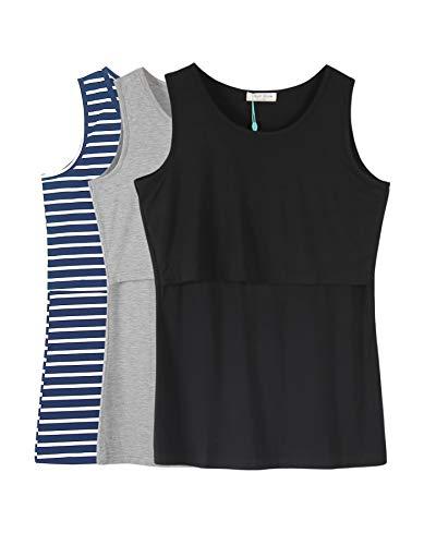 (Smallshow Women's 3 Pack Maternity Nursing Tank Tops XX-Large Blue Stripe-Black-Grey)