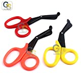 G.S PACK OF 3 PCS ( YELLOW & ORANGE & RED ) PARAMEDIC UTILITY BANDAGE TRAUMA EMT EMS SHEARS SCISSORS 7.25 INCH STAINLESS STEEL WITH BLACK BLADE BEST QUALITY