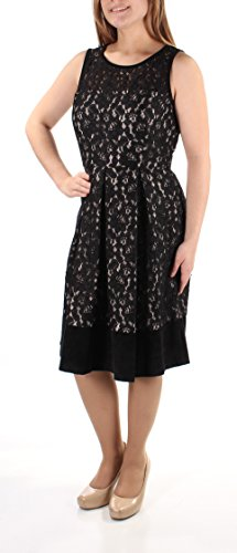 Tadashi Shoji 338 Womens New 1241 Black Jewel Neck Sleeveless Dress 16 B+B
