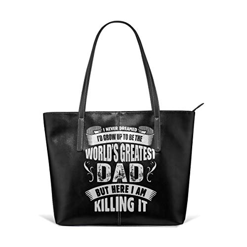 Fashion World's Greatest Dad Leather Handbag Tote Bag For Women's