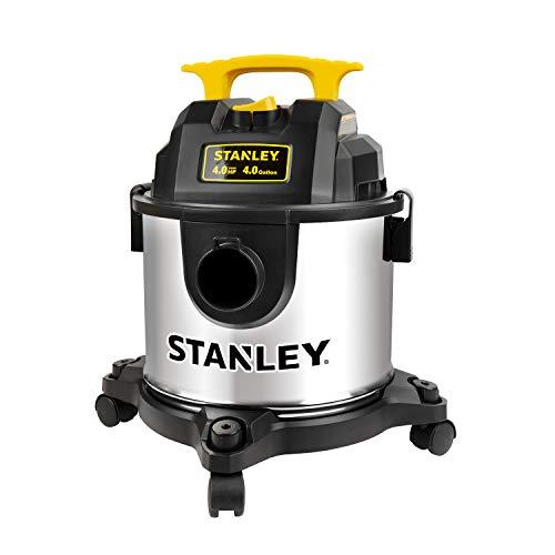 STANLEY Wet Dry Vacuum, 4 Gallon 4HP Stainless Steel,Shop Vacuum for Garage/Carpet/Shop/Workshop/Jobsite Clean, Model: SL18301-4B