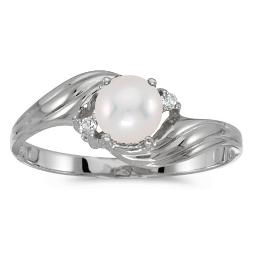 0.02 Carat ctw 10k Gold Round Cream Pearl & Diamond Bypass Swirl Cocktail Anniversary Fasion Ring - White-gold, Size 7 ()