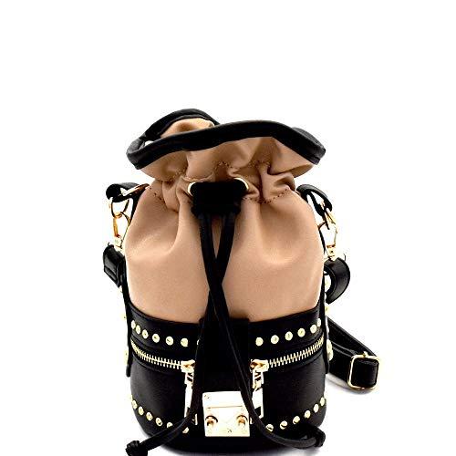 Studded 2-Way Drawstring Bucket Shoulder Bag