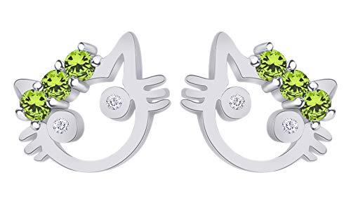 Mothers Gift Round Cut Simulated Peridot Cute Cat Stud Earrings in 14K White Gold Over Sterling Silver