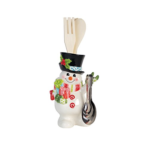 Fitz and Floyd 49-649 Flurry Folk Holder with Utensils Measuring Spoons, Utensil Holder with Tools