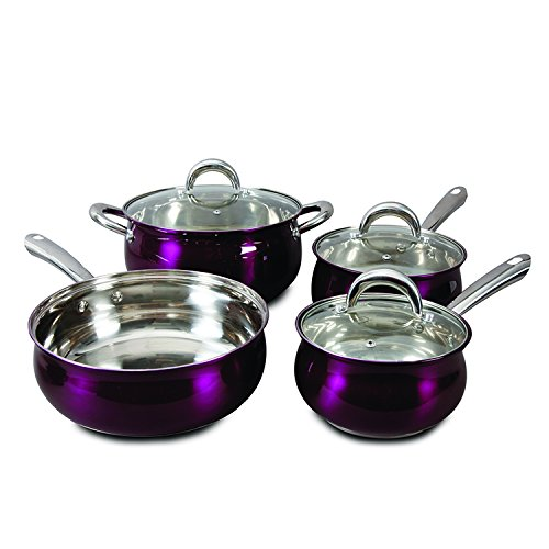 Oster 7 Piece Verdone Cookware Set with Metallic Purple Exterior, Stainless Steel (Oster Cookware Set compare prices)