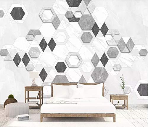 Quality Silver Show Mosaic (Wall Mural 3D Wallpaper Hexagon Mosaic Mosaic Geometric Modern Living Room Bedroom Tv Wall Decor)