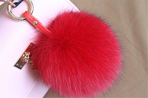 de3fab0258ed HEARTFEEL Real Fox Fur Pom Pom Bag Charm Purse Charm  Gold Ring Key Chain  for Car Key Ring or Bags Fluffy Balls (Red) - Buy Online in Oman.