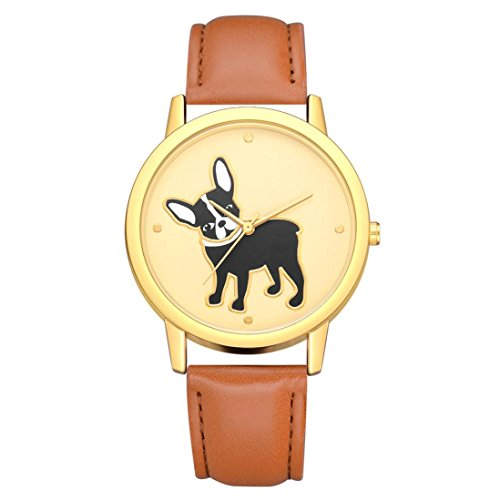 BEUU 2018 Puppy Leather Strap Watch New Wholesale Price Luxury Fashion Band Analog Quartz Round Wrist Watches Fashion Watches Quartz Men Women Men's Jewelry Sport (E)