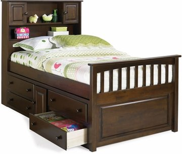 UPC 782219116924, Captain's Bed Twin Size with Three Drawer Storage Trundle Bed in Antique Walnut